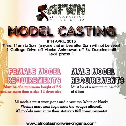 African Fashion Week Nigeria Model Casting - 09.04.15