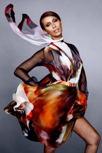 Supermodel Iman Fashion Icon In Harper's Bazaar