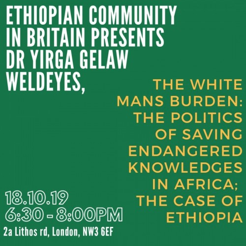 Ethiopian Community in Britain Presents Dr Yirga Gelaw Weldeyes